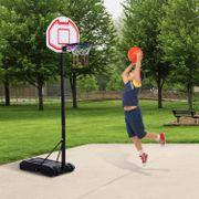Panier de Basket-Ball sur pied avec poteau panneau, base de lestage sur roulettes hauteur réglable 1,65 - 2,10 m noir blanc