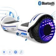 COOL&FUN Hoverboard Bluetooth 6.5 pouces, Gyropode Overboard avec Roues lumineuses à LED de couleur et Bande de LED, Blanc