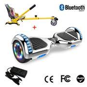 Cool&Fun Hoverboard 6.5 Pouces avec Bluetooth Argenté + Hoverkart Hip, Gyropode Overboard Smart Scooter certifié, Pneu à LED de couleur, Kit kart