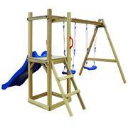 Balançoires et portiques Chic Maison de jeu avec toboggan échelle balançoire Pin 242x237x175
