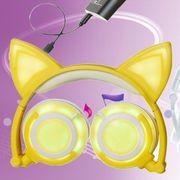 Casque audio bluetooth-De Recharge USB Pliable Lumineux Chat Oreille Casque Casque de Jeu avec la Lumière de LED et Câble AUX, Pour iPhone, Galaxy,
