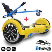 Mega Motion Hoverboard bluetooth 6.5 pouces, M1 Jaune + Hoverkart bleu, Gyropode Overboard Smart Scooter certifié, Kit kart