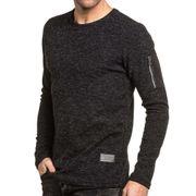 Pullover homme noir avec poche zippée