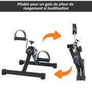 Mini vélo d'appartement pliable dim. 40L X 47l X 32H cm résistance réglable + compteur LCD acier noir