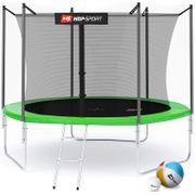 HS Hop-Sport Trampoline de jardin ronde 305/3 pieds cm avec filet de sécurité intérieur; échellle; bâche de protection Verte