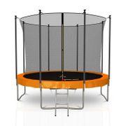 Classique 10Ft / ø305cm  Pack trampoline de jardin avec Filet intérieur, mousse de protection, échelle et tapis de saut - Orange