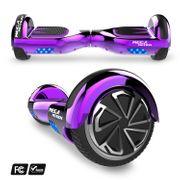 Mega Motion Hoverboard bluetooth 6.5 pouces, M2 Violet chromé + Hoverkart bleu, Gyropode Overboard Smart Scooter certifié, Kit kart