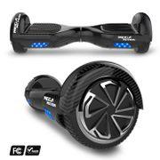 Mega Motion Hoverboard bluetooth 6.5 pouces, M1 Noir carbon + Hoverkart bleu, Gyropode Overboard Smart Scooter certifié, Kit kart
