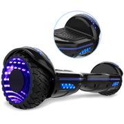 COOL&FUN Hoverboard Bluetooth 6.5 pouces, Gyropode Overboard avec Roues lumineuses à LED de couleur et Bande de LED, Noir