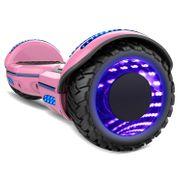 COOL&FUN Hoverboard Gyropode Bluetooth 6.5 pouces, Roues lumineuses à LED de couleur et Bande de LED, Rose