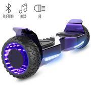 Cool&Fun Hoverboard Hummer 6.5 Pouces, Gyropode SUV Tout-Terrain, avec Bluetooth et Roues lumineuses à LED, Violet Chromé