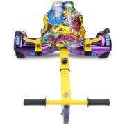 Cool&Fun Hoverboard Bluetooth 6.5 Pouces violet + Hoverkart Hip, Gyropode Overboard Smart Scooter certifié, Pneu à LED de couleur, Kit kart