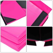 Tapis de sol gymnastique Fitness pliable  305 x 120 cm rembourrage mousse 5 cm grand confort PU rose noir neuf 15