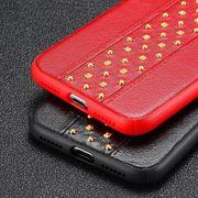 Coque housse iphone xr- Rivet Style TPU + etui de Protection en Cuir pour l'iPhone XR (Brun)