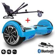 Mega Motion Hoverboard bluetooth 6.5 pouces, M1 Bleu + Hoverkart noir, Gyropode Overboard Smart Scooter certifié, Kit kart