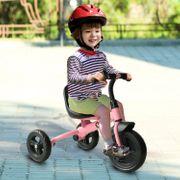 Tricycle enfants multi-équipé garde-boue sonnette pédales antidérapantes siège avec dossier rose