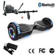 Cool&Fun Hoverboard 6.5 Pouces avec Bluetooth Carbon noir + Hoverkart Noir, Gyropode Overboard Smart Scooter certifié, Pneu à LED de couleur, Kit kart