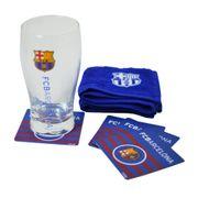 FC Barcelona - Ensemble verre à bière, serviette en éponge et dessous de verre