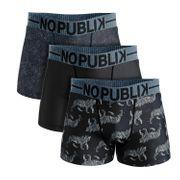 No Publik - Lot De 3 Boxers Microfibre Homme Black Tigers And Roses