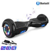 Cool&Fun Hoverboard Bluetooth 6.5 Pouces noir carbon + Hoverkart Hip, Gyropode Overboard Smart Scooter certifié, Pneu à LED de couleur, Kit kart
