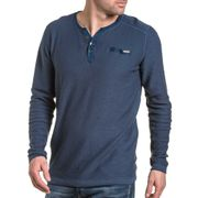 Pullover homme fin bleu navy col boutons