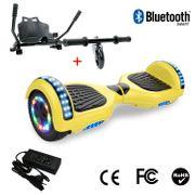Cool&Fun Hoverboard 6.5 Pouces avec Bluetooth Jaune + Hoverkart Noir, Gyropode Overboard Smart Scooter certifié, Pneu à LED de couleur, Kit kart