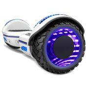 COOL&FUN Hoverboard Gyropode Bluetooth 6.5 pouces, Roues lumineuses à LED de couleur et Bande de LED, Blanc