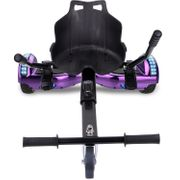 Cool&Fun Hoverboard Bluetooth 6.5 Pouces violet + Hoverkart noir, Gyropode Overboard Smart Scooter certifié, Pneu à LED de couleur, Kit kart