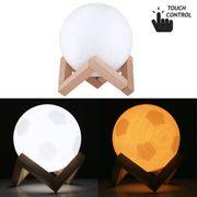 Lumières de la nuit-0.1W 3D Imprimer lampe de football USB charge contrôle Tactile 2-changement de couleur LED éclairage de nuit économie d'énergie avec base de support en bois, Diamètre: 12cm