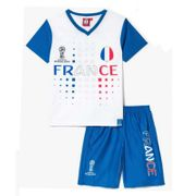 Ensemble short et maillot de foot FRANCE Officiel de la FIFA 2018 enfant blanc news Taille de 4 � 12 ans