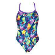 Maillot de bain Arena Tech High Phantasy Prints bretelle fine lila multicolore femme
