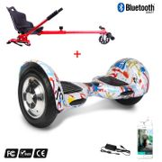Cool&Fun Hoverboard Gyropode 10 Pouces Bluetooth Graffiti  + Hoverkart rouge, Overboard Smart Scooter certifié, Kit kart