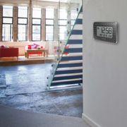 Horloge murale avec temperature inférieure et prévisions météo (Noir)