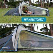 Kalix 2 - Tente de camping - 2 Personnes - Poids léger: 3,5 Kilos - 590 x 280 cm - Gris/Bleu