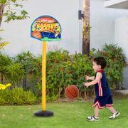 Panier de Basket-Ball sur pied avec poteau panneau + 3 ballons + pompe hauteur réglable 0,60 - 1,32 m jaune noir