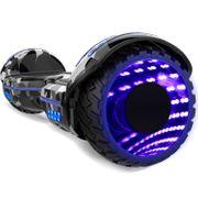 COOL&FUN Hoverboard Bluetooth 6.5 pouces, Gyropode Overboard avec Roues lumineuses à LED de couleur et Bande de LED, Camouflage