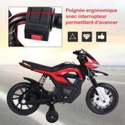 Moto électrique pour enfants 25 W 6 V 3 Km/h effets lumineux et sonores roulettes amovibles rouge