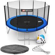 HS Hop-Sport Trampoline rond de jardin 366 cm avec filet extérieur; échelle; bâche de protection (Bleu)