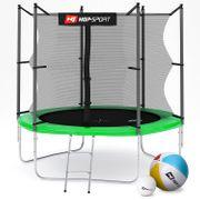 HS Hop-Sport Trampoline de jardin rond 244 cm avec filet de sécurité intérieur; échelle; bâche de protection (Vert)