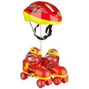 CASQUE DE GLISSE - TROTTINETTE - SKATE - PATIN A ROULETTE CARS - Rollers Réglables et protections (taille 22 a 29) (Patins + Casque + Genouilleres + Coudieres) - Enfant - Garçon