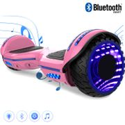COOL&FUN Hoverboard Bluetooth 6.5 pouces, Gyropode Overboard avec Roues lumineuses à LED de couleur et Bande de LED, Rose