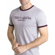 Tee shirt gris avec impresion en relief