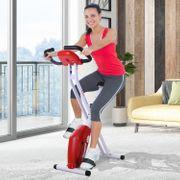 Vélo d'appartement cardio Fitness pliable écran LCD 8 niveaux de résistance selle réglable rouge