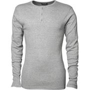 T-shirt henley tunisien HOMME - 620 - gris - manches longues - col boutonné