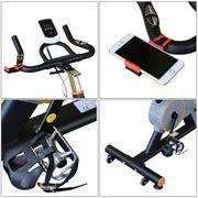 Vélo d'appartement cardio vélo biking écran multifonction selle et guidon réglable noir gris orange