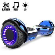 COOL&FUN Hoverboard Gyropode Bluetooth 6.5 pouces, Roues lumineuses à LED de couleur et Bande de LED, Bleu