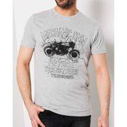 Tshirt homme gris imprimé avec motifs moto design