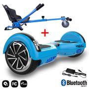 Mega Motion Hoverboard bluetooth 6.5 pouces, M1 Bleu + Hoverkart bleu, Gyropode Overboard Smart Scooter certifié, Kit kart