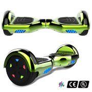 Cool&Fun Hoverboard 6.5 Pouces avec Bluetooth Vert + Hoverkart Hip, Gyropode Overboard Smart Scooter certifié, Pneu à LED de couleur, Kit kart