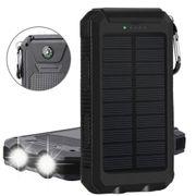 Batterie solaire double USB 10 000MAh couleur - Noir